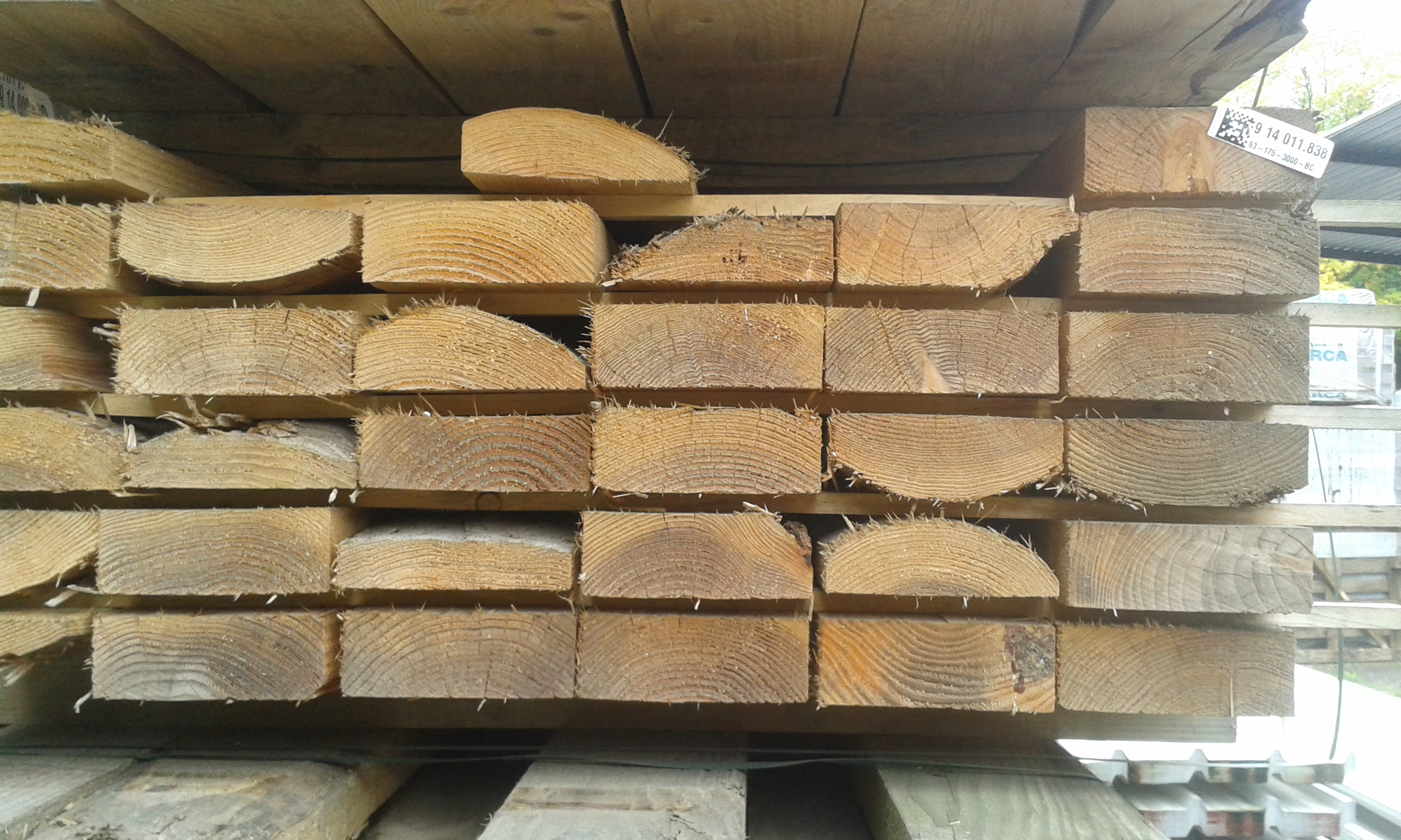 HOUTEN BALKEN 5,1m - 7x18 cm.en 7x15 cm - loten